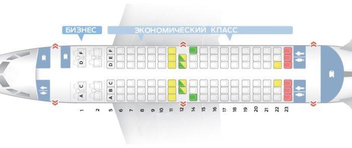Схема салона с 8 местами класса бизнес